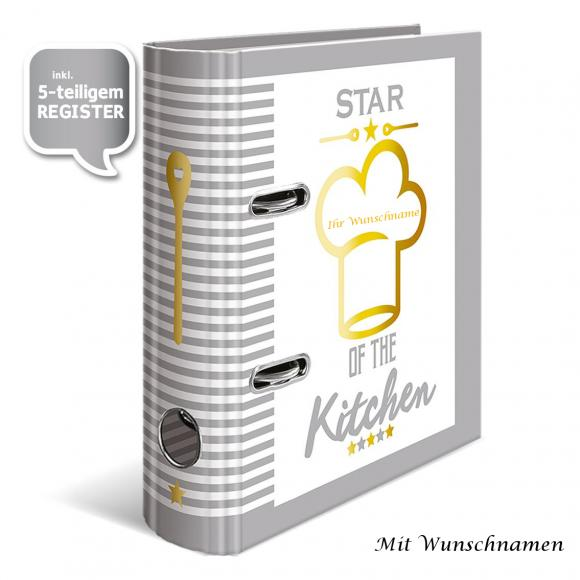 "Rezept-Motivordner ""Star of the Kitchen"" mit Gravur / A5 / 70mm / mit Register"